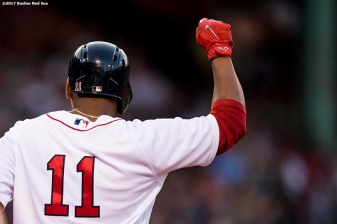 BOSTON, MA - JULY 31: Rafael Devers #11 of the Boston Red Sox reacts after hitting a single during the second inning of a game against the Cleveland Indians on July 31, 2017 at Fenway Park in Boston, Massachusetts. (Photo by Billie Weiss/Boston Red Sox/Getty Images) *** Local Caption *** Rafael Devers