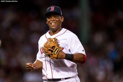 BOSTON, MA - JULY 31: Rafael Devers #11 of the Boston Red Sox reacts during the fourth inning of a game against the Cleveland Indians on July 31, 2017 at Fenway Park in Boston, Massachusetts. (Photo by Billie Weiss/Boston Red Sox/Getty Images) *** Local Caption *** Rafael Devers