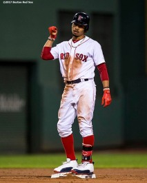 BOSTON, MA - JULY 31: Mookie Betts #50 of the Boston Red Sox reacts after hitting an RBI double during the fourth inning of a game against the Cleveland Indians on July 31, 2017 at Fenway Park in Boston, Massachusetts. (Photo by Billie Weiss/Boston Red Sox/Getty Images) *** Local Caption *** Mookie Betts