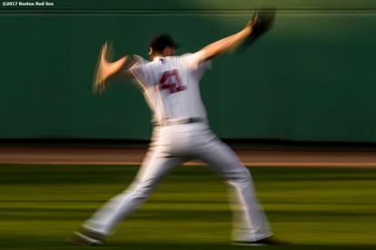 BOSTON, MA - AUGUST 1: Chris Sale #41 of the Boston Red Sox warms up before a game against the Cleveland Indians on August 1, 2017 at Fenway Park in Boston, Massachusetts. (Photo by Billie Weiss/Boston Red Sox/Getty Images) *** Local Caption *** Chris Sale