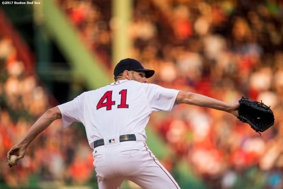 BOSTON, MA - AUGUST 1: Chris Sale #41 of the Boston Red Sox delivers during the first inning of a game against the Cleveland Indians on August 1, 2017 at Fenway Park in Boston, Massachusetts. (Photo by Billie Weiss/Boston Red Sox/Getty Images) *** Local Caption *** Chris Sale