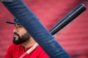 BOSTON, MA - AUGUST 3: Sandy Leon #3 of the Boston Red Sox looks on before a game against the Chicago White Sox on August 3, 2017 at Fenway Park in Boston, Massachusetts. (Photo by Billie Weiss/Boston Red Sox/Getty Images) *** Local Caption *** Sandy Leon