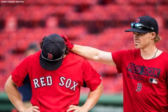 BOSTON, MA - AUGUST 3: Brock Holt #12 reacts with Andrew Benintendi #16 of the Boston Red Sox before a game against the Chicago White Sox on August 3, 2017 at Fenway Park in Boston, Massachusetts. (Photo by Billie Weiss/Boston Red Sox/Getty Images) *** Local Caption *** Brock Holt; Andrew Benintendi