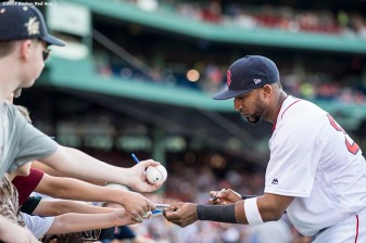 BOSTON, MA - AUGUST 3: Eduardo Nunez #36 of the Boston Red Sox signs autographs before a game against the Chicago White Sox on August 3, 2017 at Fenway Park in Boston, Massachusetts. (Photo by Billie Weiss/Boston Red Sox/Getty Images) *** Local Caption *** Eduardo Nunez