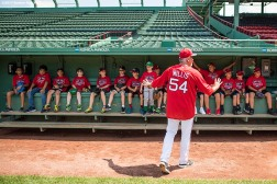 August 3, 2017, Boston, MA: Boston Red Sox pitching coach Carl Willis gives instructions during a Sox Talk Clinic at Fenway Park in Boston, Massachusetts Thursday, August 3, 2017. (Photo by Billie Weiss/Boston Red Sox)