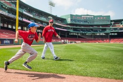 August 3, 2017, Boston, MA: Boston Red Sox third base coach Brian Butterfield gives baserunning instructions during a Sox Talk Clinic at Fenway Park in Boston, Massachusetts Thursday, August 3, 2017. (Photo by Billie Weiss/Boston Red Sox)