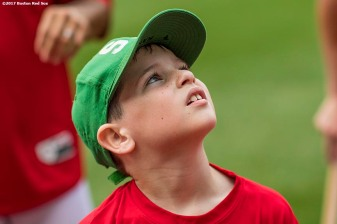 August 3, 2017, Boston, MA: A participant looks on during a Sox Talk Clinic at Fenway Park in Boston, Massachusetts Thursday, August 3, 2017. (Photo by Billie Weiss/Boston Red Sox)