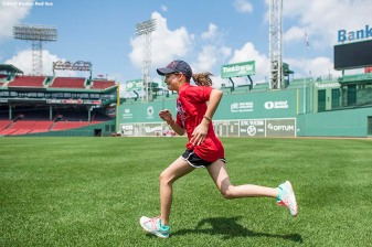 August 3, 2017, Boston, MA: A participants practices base running during a Sox Talk Clinic at Fenway Park in Boston, Massachusetts Thursday, August 3, 2017. (Photo by Billie Weiss/Boston Red Sox)