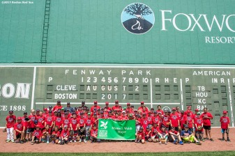 August 3, 2017, Boston, MA: Participants pose for a group photograph with Boston Red Sox coaches and players during a Sox Talk Clinic at Fenway Park in Boston, Massachusetts Thursday, August 3, 2017. (Photo by Billie Weiss/Boston Red Sox)