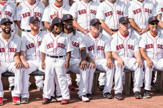 BOSTON, MA - AUGUST 4: Members of the Boston Red Sox pose for the team photograph before a game against the Chicago White Sox on August 4, 2017 at Fenway Park in Boston, Massachusetts. (Photo by Billie Weiss/Boston Red Sox/Getty Images) *** Local Caption ***