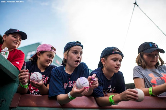 BOSTON, MA - AUGUST 4: Fans ask for autographs before a game between the Boston Red Sox and the Chicago White Sox on August 4, 2017 at Fenway Park in Boston, Massachusetts. (Photo by Billie Weiss/Boston Red Sox/Getty Images) *** Local Caption ***