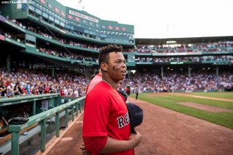 BOSTON, MA - AUGUST 4: Rafael Devers #11 of the Boston Red Sox looks on before a game against the Chicago White Sox on August 4, 2017 at Fenway Park in Boston, Massachusetts. (Photo by Billie Weiss/Boston Red Sox/Getty Images) *** Local Caption *** Rafael Devers