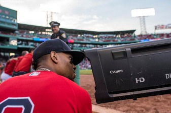 BOSTON, MA - AUGUST 4: Xander Bogaerts #2 of the Boston Red Sox looks into a camera before a game against the Chicago White Sox on August 4, 2017 at Fenway Park in Boston, Massachusetts. (Photo by Billie Weiss/Boston Red Sox/Getty Images) *** Local Caption *** Xander Bogaerts