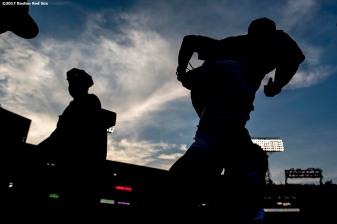 BOSTON, MA - AUGUST 4: Mookie Betts #50 of the Boston Red Sox runs onto the field before a game against the Chicago White Sox on August 4, 2017 at Fenway Park in Boston, Massachusetts. (Photo by Billie Weiss/Boston Red Sox/Getty Images) *** Local Caption *** Mookie Betts