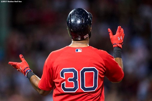 BOSTON, MA - AUGUST 4: Chris Young #30 of the Boston Red Sox reacts after hitting an RBI single during the fifth inning of a game against the Chicago White Sox on August 4, 2017 at Fenway Park in Boston, Massachusetts. (Photo by Billie Weiss/Boston Red Sox/Getty Images) *** Local Caption *** Chris Young
