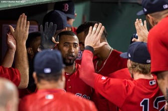 BOSTON, MA - AUGUST 4: Eduardo Nunez #36 of the Boston Red Sox high fives teammates after hitting a game tying solo home run during the sixth inning of a game against the Chicago White Sox on August 4, 2017 at Fenway Park in Boston, Massachusetts. (Photo by Billie Weiss/Boston Red Sox/Getty Images) *** Local Caption *** Eduardo Nunez