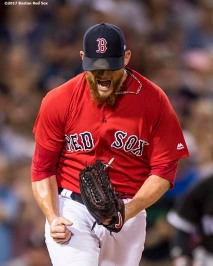 BOSTON, MA - AUGUST 4: Craig Kimbrel #46 of the Boston Red Sox reacts during the ninth inning of a game against the Chicago White Sox on August 4, 2017 at Fenway Park in Boston, Massachusetts. (Photo by Billie Weiss/Boston Red Sox/Getty Images) *** Local Caption *** Craig Kimbrel