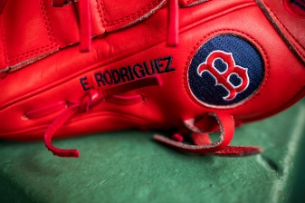 BOSTON, MA - AUGUST 5: The glove of Eduardo Rodriguez #52 of the Boston Red Sox is shown before a game against the Chicago White Sox on August 5, 2017 at Fenway Park in Boston, Massachusetts. (Photo by Billie Weiss/Boston Red Sox/Getty Images) *** Local Caption *** Eduardo Rodriguez