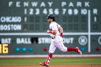 BOSTON, MA - AUGUST 5: Andrew Benintendi #16 of the Boston Red Sox rounds the bases after hitting a two run home run during the first inning of a game against the Chicago White Sox on August 5, 2017 at Fenway Park in Boston, Massachusetts. (Photo by Billie Weiss/Boston Red Sox/Getty Images) *** Local Caption *** Andrew Benintendi