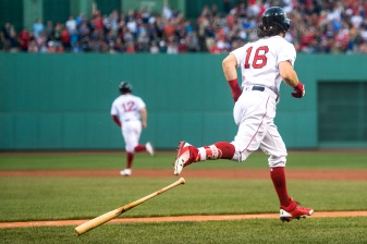 BOSTON, MA - AUGUST 5: Andrew Benintendi #16 of the Boston Red Sox rounds the bases after hitting a two run home run to drive in Brock Holt #12 during the first inning of a game against the Chicago White Sox on August 5, 2017 at Fenway Park in Boston, Massachusetts. (Photo by Billie Weiss/Boston Red Sox/Getty Images) *** Local Caption *** Andrew Benintendi; Brock Holt