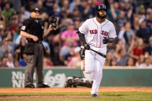 BOSTON, MA - AUGUST 5: Jackie Bradley Jr. #19 of the Boston Red Sox hits a two run home run during the second inning of a game against the Chicago White Sox on August 5, 2017 at Fenway Park in Boston, Massachusetts. (Photo by Billie Weiss/Boston Red Sox/Getty Images) *** Local Caption *** Jackie Bradley Jr.