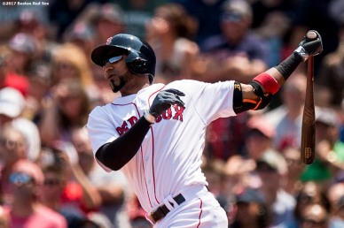 BOSTON, MA - AUGUST 6: Eduardo Nunez #36 of the Boston Red Sox hits a solo home run during the first inning of a game against the Chicago White Sox on August 6, 2017 at Fenway Park in Boston, Massachusetts. (Photo by Billie Weiss/Boston Red Sox/Getty Images) *** Local Caption *** Eduardo Nunez