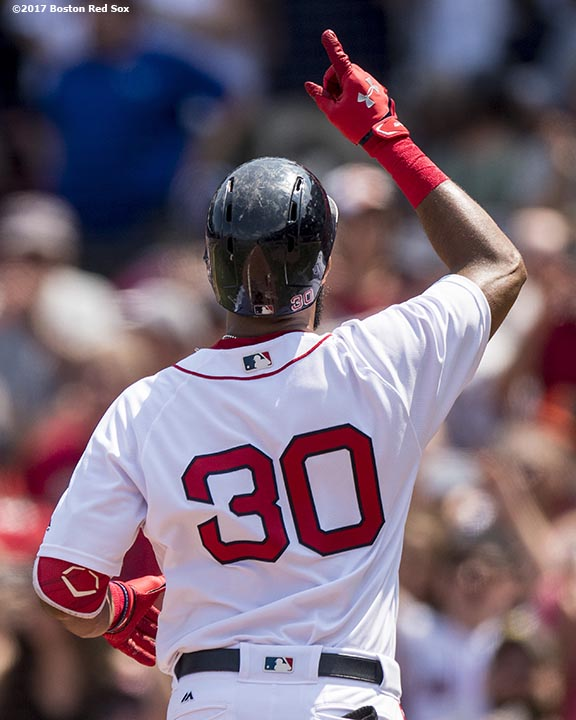 BOSTON, MA - AUGUST 6: Chris Young #30 of the Boston Red Sox reacts after hitting a solo home run during the first inning of a game against the Chicago White Sox on August 6, 2017 at Fenway Park in Boston, Massachusetts. (Photo by Billie Weiss/Boston Red Sox/Getty Images) *** Local Caption *** Chris Young
