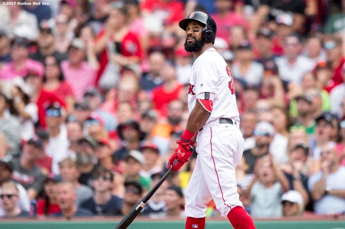 BOSTON, MA - AUGUST 6: Chris Young #30 of the Boston Red Sox hits a three run home run during the fifth inning of a game against the Chicago White Sox on August 6, 2017 at Fenway Park in Boston, Massachusetts. It was his second home run of the game. (Photo by Billie Weiss/Boston Red Sox/Getty Images) *** Local Caption *** Chris Young