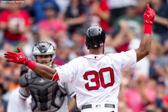 BOSTON, MA - AUGUST 6: Chris Young #30 of the Boston Red Sox reacts after hitting a three run home run during the fifth inning of a game against the Chicago White Sox on August 6, 2017 at Fenway Park in Boston, Massachusetts. It was his second home run of the game. (Photo by Billie Weiss/Boston Red Sox/Getty Images) *** Local Caption *** Chris Young