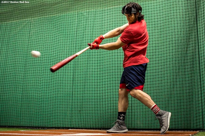 BOSTON, MA - AUGUST 14: Andrew Benintendi #19 of the Boston Red Sox takes batting practice in the cage before a game against the Cleveland Indians on August 14, 2017 at Fenway Park in Boston, Massachusetts. (Photo by Billie Weiss/Boston Red Sox/Getty Images) *** Local Caption *** Andrew Benintendi
