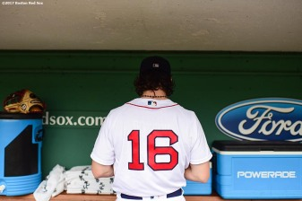 BOSTON, MA - AUGUST 14: Andrew Benintendi #19 of the Boston Red Sox gets ready in the dugout before a game against the Cleveland Indians on August 14, 2017 at Fenway Park in Boston, Massachusetts. (Photo by Billie Weiss/Boston Red Sox/Getty Images) *** Local Caption *** Andrew Benintendi