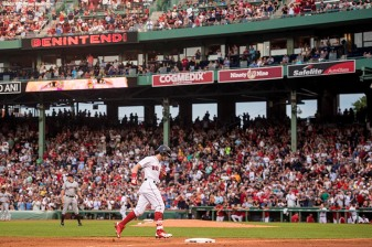 BOSTON, MA - AUGUST 14: Andrew Benintendi #16 of the Boston Red Sox rounds the bases after hitting a solo home run during the third inning of a game against the Cleveland Indians on August 14, 2017 at Fenway Park in Boston, Massachusetts. (Photo by Billie Weiss/Boston Red Sox/Getty Images) *** Local Caption *** Andrew Benintendi
