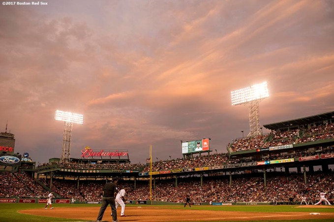 BOSTON, MA - AUGUST 14: The sun sets during a game between the Boston Red Sox and the Cleveland Indians on August 14, 2017 at Fenway Park in Boston, Massachusetts. (Photo by Billie Weiss/Boston Red Sox/Getty Images) *** Local Caption ***