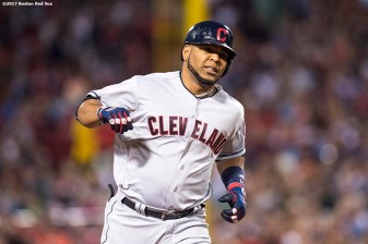 BOSTON, MA - AUGUST 14: Edwin Encarnacion #10 of the Boston Red Sox rounds the bases after hitting a two run home run during the sixth inning of a game against the Boston Red Sox on August 14, 2017 at Fenway Park in Boston, Massachusetts. It was his second home run of the game. (Photo by Billie Weiss/Boston Red Sox/Getty Images) *** Local Caption *** Edwin Encarnacion