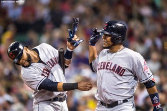 BOSTON, MA - AUGUST 14: Edwin Encarnacion #10 of the Boston Red Sox reacts with Carlos Santana #41 after hitting a two run home run during the sixth inning of a game against the Boston Red Sox on August 14, 2017 at Fenway Park in Boston, Massachusetts. It was his second home run of the game. (Photo by Billie Weiss/Boston Red Sox/Getty Images) *** Local Caption *** Edwin Encarnacion; Carlos Santana
