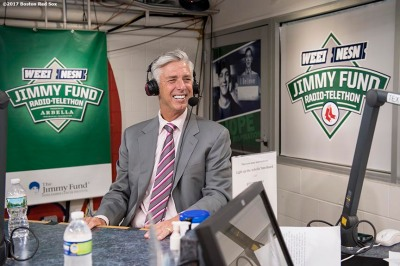 August 15, 2017, Boston, MA: Boston Red Sox President of Baseball Operations David Dombrowski speaks in the booth during the 2017 WEEI-NESN Jimmy Fund Radio Telethon at Fenway Park in Boston, Massachusetts Tuesday, August 15, 2017. (Photo by Billie Weiss/Boston Red Sox)