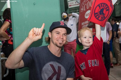 August 15, 2017, Boston, MA: Boston Red Sox infielder/outfielder Brock Holt greets a Jimmy Fund patient during the 2017 WEEI-NESN Jimmy Fund Radio Telethon at Fenway Park in Boston, Massachusetts Tuesday, August 15, 2017. (Photo by Billie Weiss/Boston Red Sox)