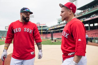 BOSTON, MA - AUGUST 15: Sandy Leon #3 and Christian Vazquez #7 of the Boston Red Sox talk before a game against the St. Louis Cardinals on August 15, 2017 at Fenway Park in Boston, Massachusetts. (Photo by Billie Weiss/Boston Red Sox/Getty Images) *** Local Caption *** Sandy Leon; Christian Vazquez