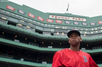 BOSTON, MA - AUGUST 15: Rafael Devers #11 of the Boston Red Sox looks on before a game against the St. Louis Cardinals on August 15, 2017 at Fenway Park in Boston, Massachusetts. (Photo by Billie Weiss/Boston Red Sox/Getty Images) *** Local Caption *** Rafael Devers