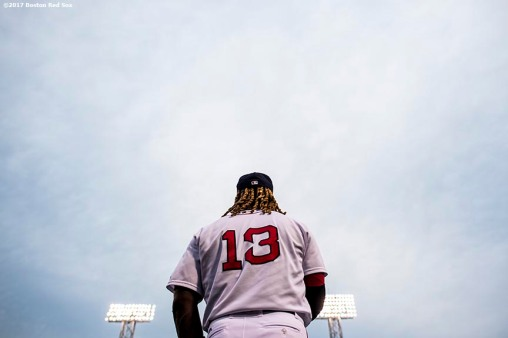 BOSTON, MA - AUGUST 15: Hanley Ramirez #13 of the Boston Red Sox warms up before a game against the St. Louis Cardinals on August 15, 2017 at Fenway Park in Boston, Massachusetts. (Photo by Billie Weiss/Boston Red Sox/Getty Images) *** Local Caption *** Hanley Ramirez