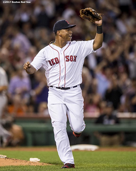 BOSTON, MA - AUGUST 15: Rafael Devers #11 of the Boston Red Sox reacts after completing a triple play during the fourth inning of a game against the St. Louis Cardinals on August 15, 2017 at Fenway Park in Boston, Massachusetts. (Photo by Billie Weiss/Boston Red Sox/Getty Images) *** Local Caption *** Rafael Devers