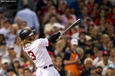 BOSTON, MA - AUGUST 15: Hanley Ramirez #13 of the Boston Red Sox hits an RBI double during the fourth inning of a game against the St. Louis Cardinals on August 15, 2017 at Fenway Park in Boston, Massachusetts. (Photo by Billie Weiss/Boston Red Sox/Getty Images) *** Local Caption *** Hanley Ramirez