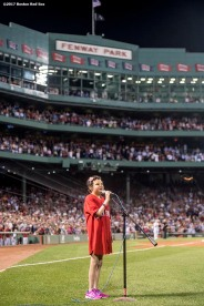 BOSTON, MA - AUGUST 15: Jimmy Fund patient Hannah Wertens sings God Bless America during a game between the Boston Red Sox and the St. Louis Cardinals on August 15, 2017 at Fenway Park in Boston, Massachusetts. (Photo by Billie Weiss/Boston Red Sox/Getty Images) *** Local Caption *** Hannah Wertens