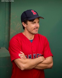 BOSTON, MA - AUGUST 15: Actor Casey Affleck looks on before throwing out the ceremonial first pitch during a Jimmy Fund Radio-Telethon pre-game ceremony before a game between the Boston Red Sox and the St. Louis Cardinals on August 15, 2017 at Fenway Park in Boston, Massachusetts. (Photo by Billie Weiss/Boston Red Sox/Getty Images) *** Local Caption *** Casey Affleck