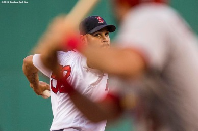BOSTON, MA - AUGUST 16: Eduardo Rodriguez #52 of the Boston Red Sox delivers during the first inning of a game against the St. Louis Cardinals on August 16, 2017 at Fenway Park in Boston, Massachusetts. (Photo by Billie Weiss/Boston Red Sox/Getty Images) *** Local Caption *** Eduardo Rodriguez