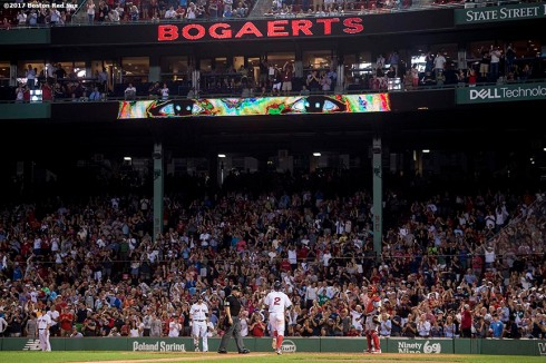 BOSTON, MA - AUGUST 16: Xander Bogaerts #2 of the Boston Red Sox rounds the bases after hitting a solo home run during the ninth inning of a game against the St. Louis Cardinals on August 16, 2017 at Fenway Park in Boston, Massachusetts. (Photo by Billie Weiss/Boston Red Sox/Getty Images) *** Local Caption *** Xander Bogaerts