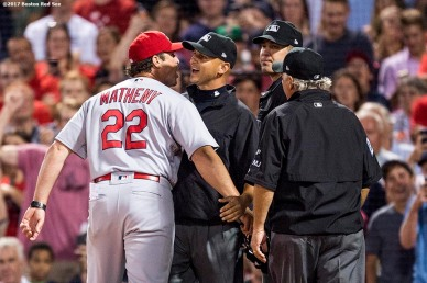 BOSTON, MA - AUGUST 16: Manager Mike Matheny #22 of the St. Louis Cardinals argues after being ejected from the game by home plate umpire Chris Segal #96 against the Boston Red Sox on August 16, 2017 at Fenway Park in Boston, Massachusetts. (Photo by Billie Weiss/Boston Red Sox/Getty Images) *** Local Caption *** Chris Segal; Mike Matheny