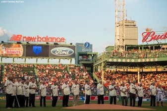 BOSTON, MA - AUGUST 16: Members of the 1967 Boston Red Sox are introduced during a 1967 50 year anniversary ceremony before a game against the St. Louis Cardinals on August 16, 2017 at Fenway Park in Boston, Massachusetts. (Photo by Billie Weiss/Boston Red Sox/Getty Images) *** Local Caption ***