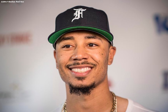 August 17, 2017, Boston, MA: Boston Red Sox right fielder Mookie Betts attends the Mookie's Big League Bowl for Pitching In For Kids event at Lucky Strike Lanes in Boston, Massachusetts Thursday, August 17, 2017. (Photo by Billie Weiss/Boston Red Sox)