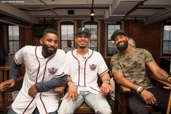 August 17, 2017, Boston, MA: Boston Red Sox center fielder Jackie Bradley Jr., right fielder Moookie Bets, and left fielder Chris Young pose for a photograph during the Mookie's Big League Bowl for Pitching In For Kids event at Lucky Strike Lanes in Boston, Massachusetts Thursday, August 17, 2017. (Photo by Billie Weiss/Boston Red Sox)